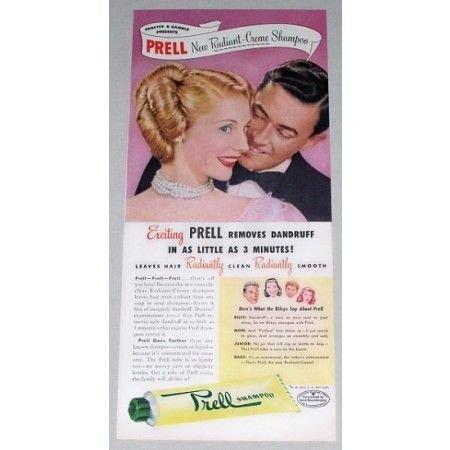 1948 Prell Radiant Creme Shampoo Vintage Color Print Ad