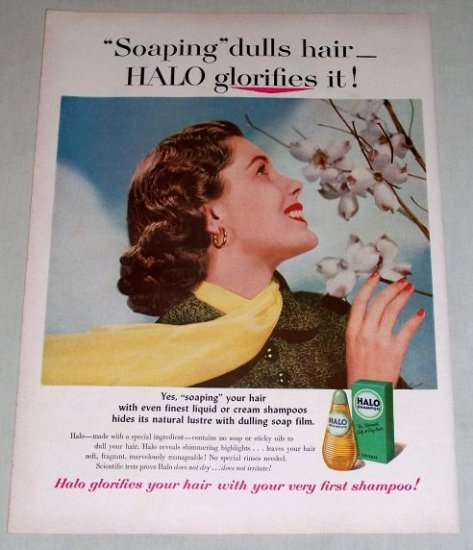 1953 Halo Shampoo Vintage Color Print Ad - Halo Glorifies It
