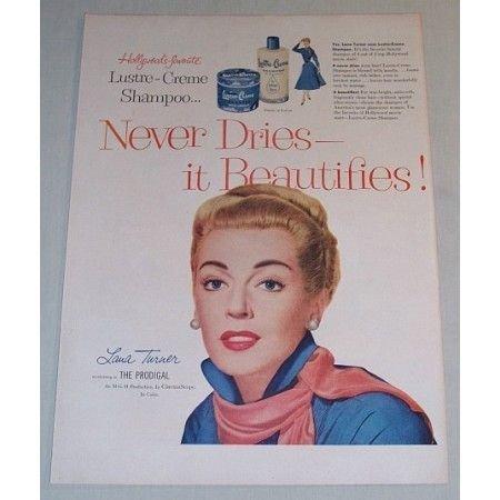 1955 Lustre Creme Shampoo Vintage Color Print Ad Celebrity Lana Turner