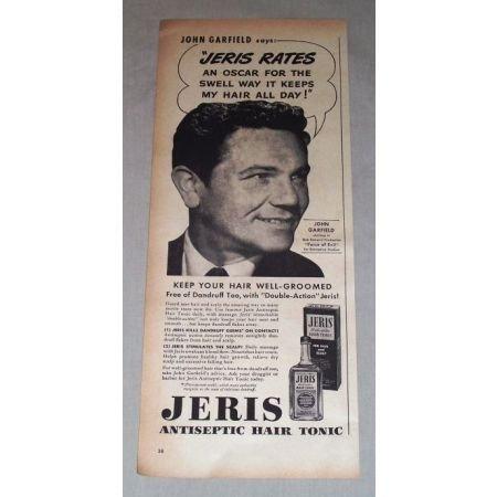 1949 Jeris Hair Tonic Vintage Print Ad Celebrity John Garfield
