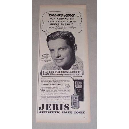 1949 Jeris Hair Tonic Vintage Print Ad Celebrity Robert Cummings