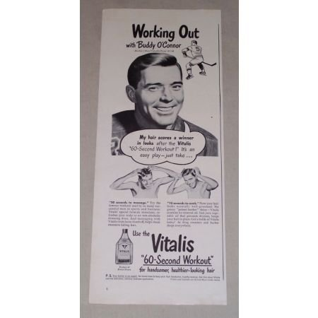 1949 Vitalis Hair Care Vintage Print Ad Hockey Celebrity Buddy O'Connor