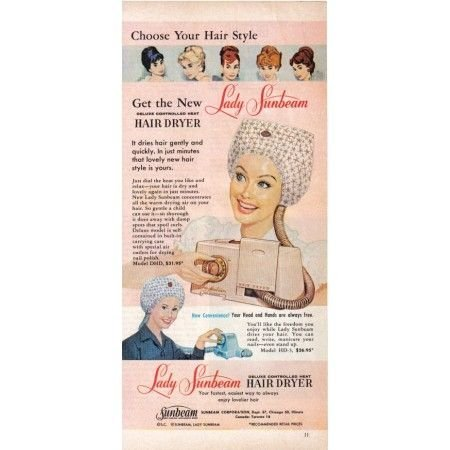 1960 Lady Sunbeam Deluxe Hair Dryer Vintage Color Print Ad