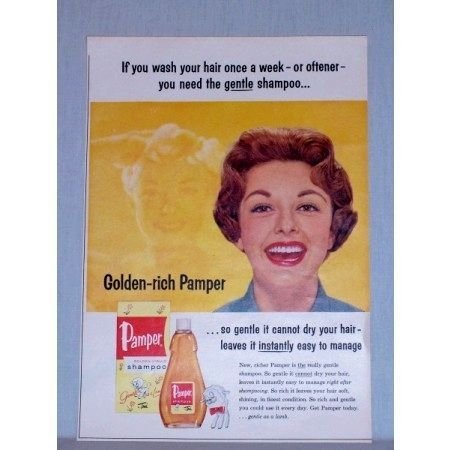 1957 Pamper Golden Liquid Shampoo Vintage Color Print Ad