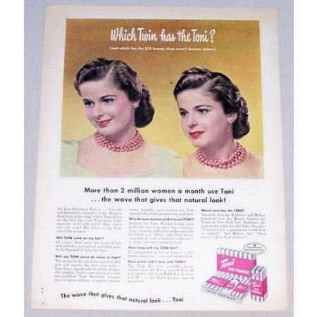 1949 Toni Home Permanent Vintage Color Print Ad - Which Twin Has Toni
