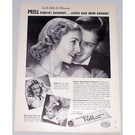 1949 Prell Shampoo Vintage Print Ad - Leaves Hair More Radiant