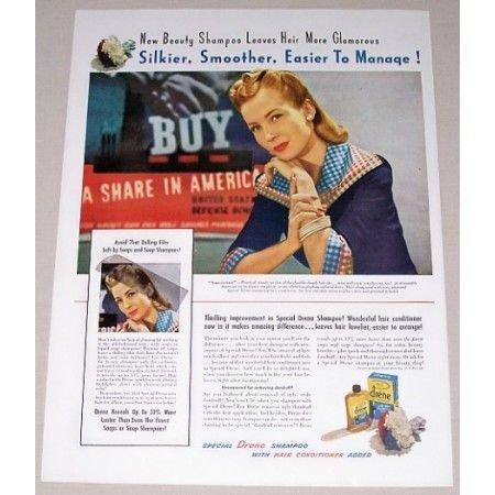 1942 Drene Shampoo Vintage Color Print Ad - Leaves Hair Glamorous
