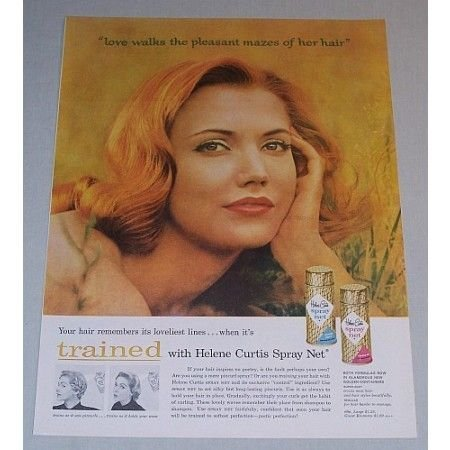 1957 Helene Curtis Spray Net Hair Spray Vintage Color Print Ad - Love Walks
