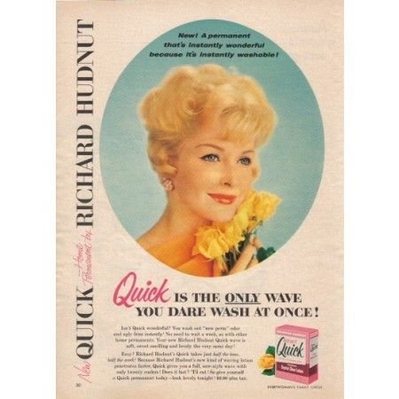 1958 Quick Home Permanent Vintage Color Print Ad - The Only Wave