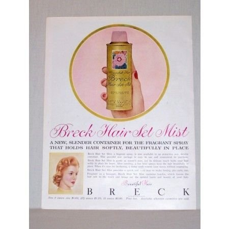 1957 Breck Hair Set Mist Fragrant Spray Vintage Color Print Ad