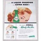 1956 Prell Radiant Shampoo Vintage Color Print Ad