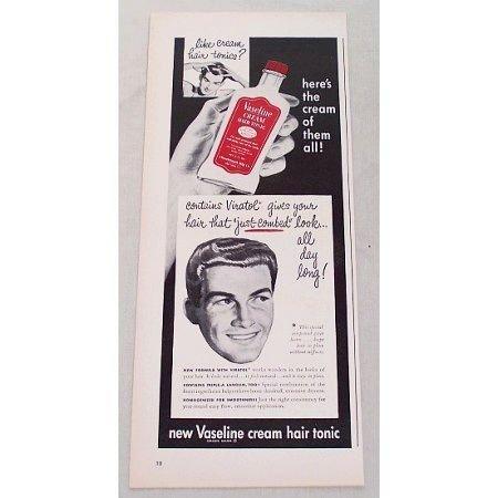 1948 Vaseline Cream Hair Tonic Vintage Print Ad - Just Combed Look