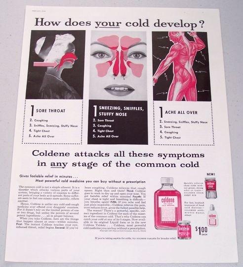 1958 Coldene Liquid Cold Vintage Color Print Ad