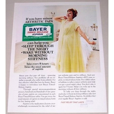 1971 Bayer Time Release Aspirin Vintage Color Print Ad - Fast Relief