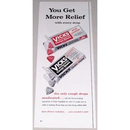 1955 Vicks Cough Drops Vintage Color Print Ad - You Get More Relief