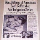 1954 Tums Acid Indigestion Antacid Vintage Print Ad