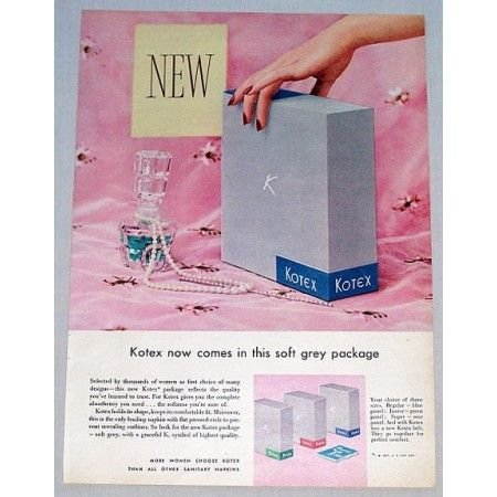 1955 Kotex Sanitary Napkins Soft Grey Package Vintage Color Print Ad