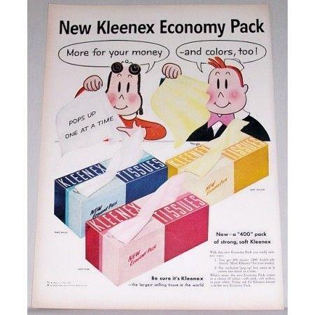 1955 Kleenex Tissues Economy Pack Little Lula Art Vintage Color Print Ad