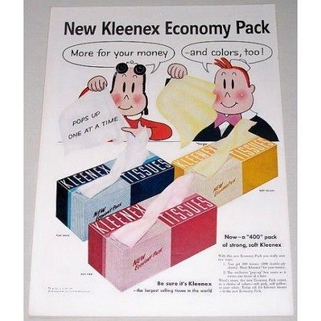 1955 Kleenex Economy Pack Tissues Little Lulu Art Color Print Ad