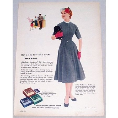 1954 Kotex Napkins Color Print Ad - Not A Shadow Of Doubt