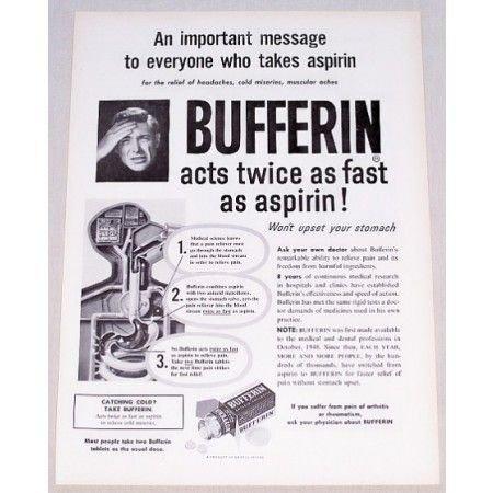 1954 Bufferin Antacid Analgesic Print Ad - Acts Twice As Fast
