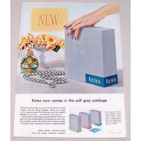 1955 Kotex Napkins Grey Package Color Print Ad