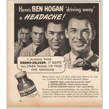 1940 Bromo Seltzer Vintage Ad Golf Celebrity Ben Hogan