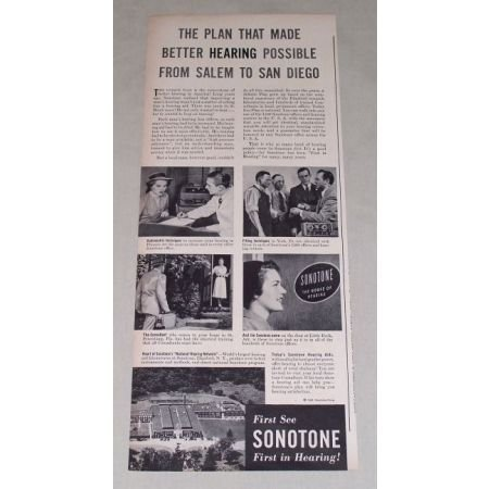 1949 Sonotone Hearing Aid Vintage Print Ad