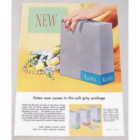 1955 Kotex Napkins Color Print Ad - Grey Package