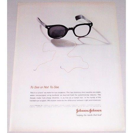 1962 Johnson Johnson Eye Surgery Suture Vintage Print Ad