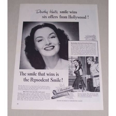 1949 Pepsodent Tooth Paste Vintage Print Ad Celebrity Dorothy Hart