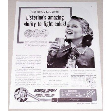1941 Listerine Oral Antiseptic Throat Light Offer Vintage Print Ad