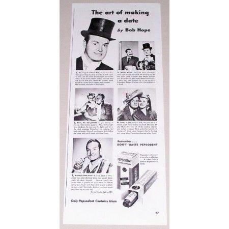 1943 Pepsodent Tooth Powder Vintage Print Ad Celebrity Bobe Hope