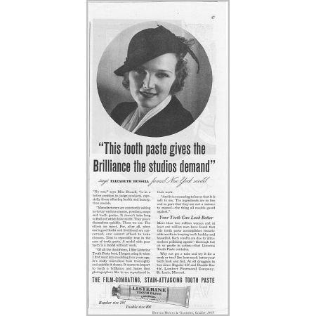 1935 Listerine Toothpaste Vintage Print Ad Celebrity Elizabeth Russell