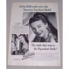 1949 Pepsodent Toothpaste Vintage Print Ad Celebrity Shirley Talbott