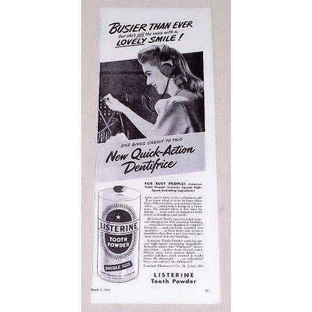 1944 Listerine Tooth Powder Vintage Print Ad - Busier Than Ever