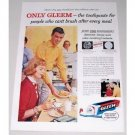 1951 Gleem GL-70 Toothpaste Color Print Ad - Just One Brushing