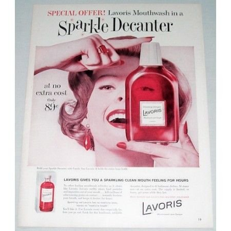 1960 Lavoris Mouthwash Gargle Color Print Ad
