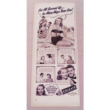 1948 Colgate Dental Cream Vintage Print Ad - I'm All Burned Up