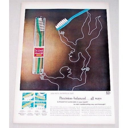 1951 Dr. West Miracle Tuft Toothbrush Color Print Ad