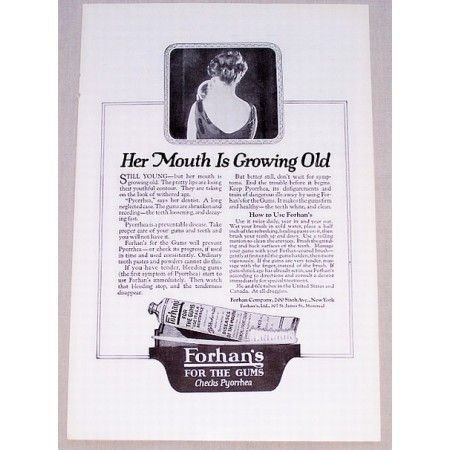 1919 Forhan's For The Gums Vintage Print Ad - Mouth Growing Old