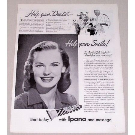 1944 Ipana Tooth Paste Vintage Print Ad - Help Your Dentist