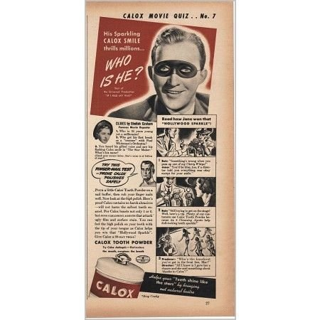 1940 Calox Tooth Powder Vintage Print Ad Celebrity Bing Crosby