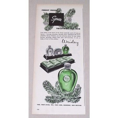 1946 Wrisley Spruce Toiletries For Men Color Print Ad