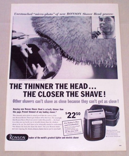 1955 Ronson Electric Shaver Vintage Print Ad - Micro Photo