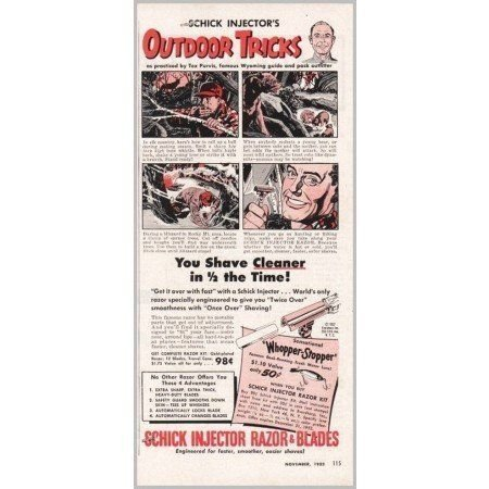1952 Schick Injector Razor Blades Vintage Print Ad - Whopper Stopper