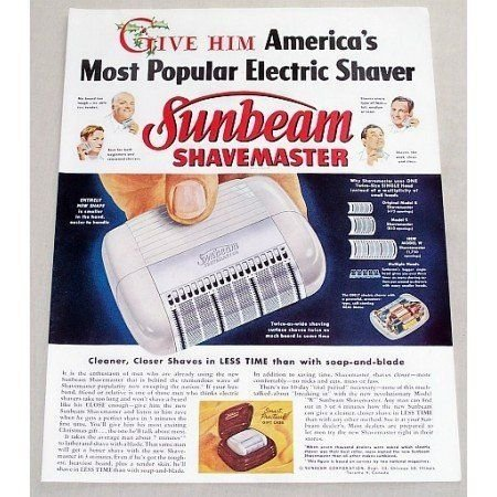 1949 Sunbeam Shavemaster Electric Shaver Color Print Ad