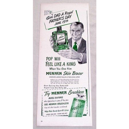 1949 Mennen Skin Bracer After Shave Lotion Vintage Print Ad