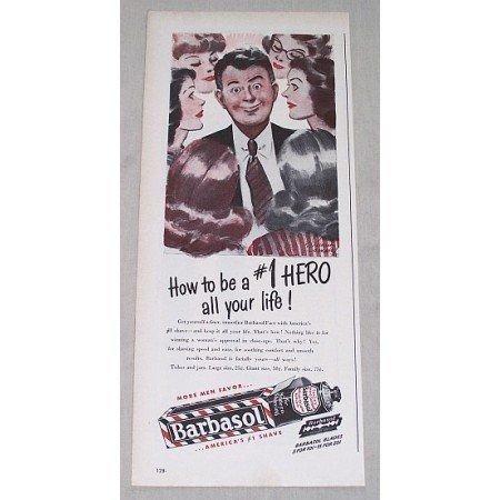 1946 Barbasol Beard Softener Color Print Art Ad - Be A #1 Hero