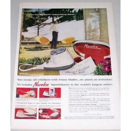 1960 Norelco Speedshaver Electric Shaver Color Print Ad
